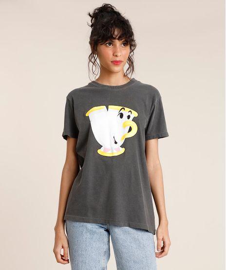 T-Shirt-Feminina-Mindset-Zip-A-Bela-e-a-Fera-Manga-Curta-Decote-Redondo-Chumbo-9946731-Chumbo_1