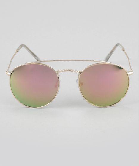62abc629cc4f6 Oculos-de-Sol-Redondo-Feminino-Oneself-Dourado-8744442- ...