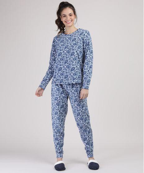 Pijama-de-Fleece-Feminino-Estampado-Paisley-Manga-Longa-Branco-9900205-Branco_1