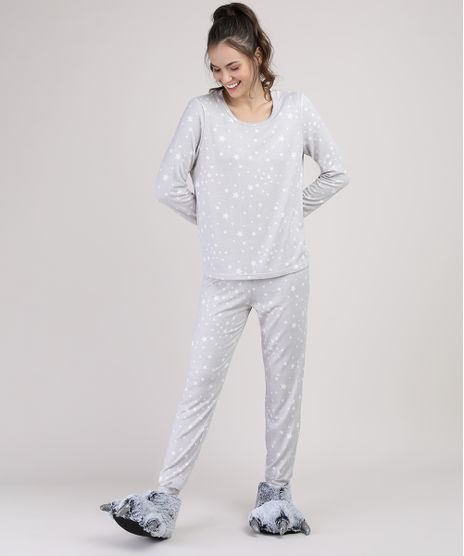 Pijama-Feminino-Estampado-de-Estrelas-Manga-Longa-Cinza-Mescla-9900220-Cinza_Mescla_1