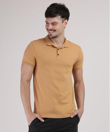 Polo-Masculina-Slim-Texturizada-Manga-Curta-Mostarda-9872557-Mostarda_1