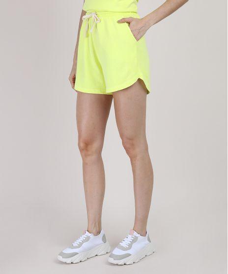 Short-de-Moletom-Feminino-Mindset-Running-Cintura-Alta-Amarelo-9949166-Amarelo_1