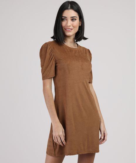 Vestido-de-Suede-Feminino-Curto-Manga-Curta-Caramelo-9938150-Caramelo_1
