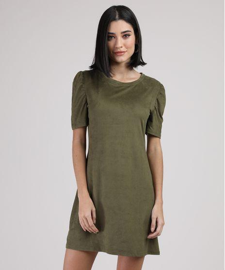 Vestido-de-Suede-Feminino-Curto-Manga-Curta-Verde-Militar-9938150-Verde_Militar_1