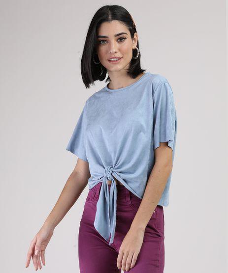 Blusa-de-Suede-Feminina-Cropped-Ampla-com-No-Manga-Curta-Decote-Redondo-Azul-Claro-9938149-Azul_Claro_1