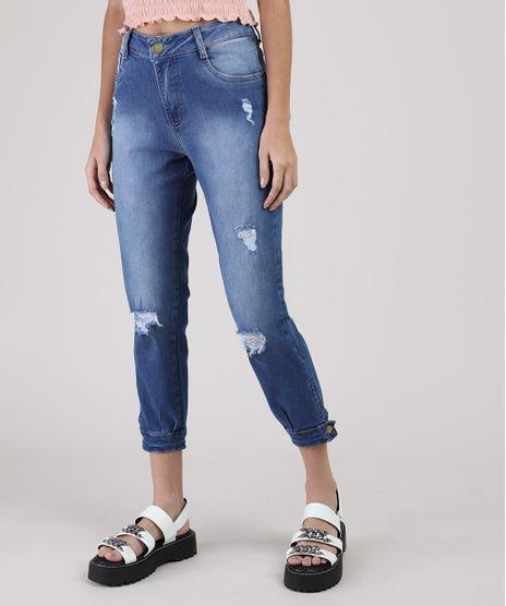 Calca-Jeans-Feminina-Sawary-Boyfriend-Cropped-Cintura-Media-com-Rasgos-Azul-Medio-9945249-Azul_Medio_1