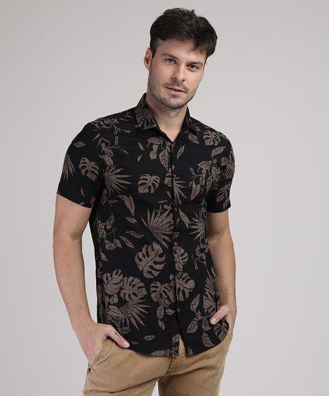 Camisa-Masculina-Folhas-Manga-Curta-Preta-9942493-Preto_1