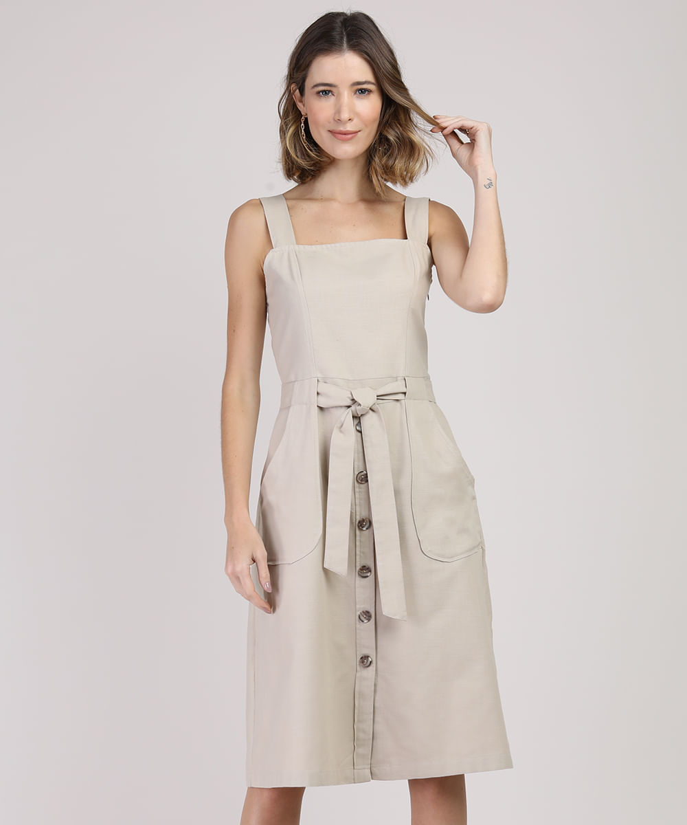 Vestido Feminino Midi com Bolsos Alça Larga Kaki