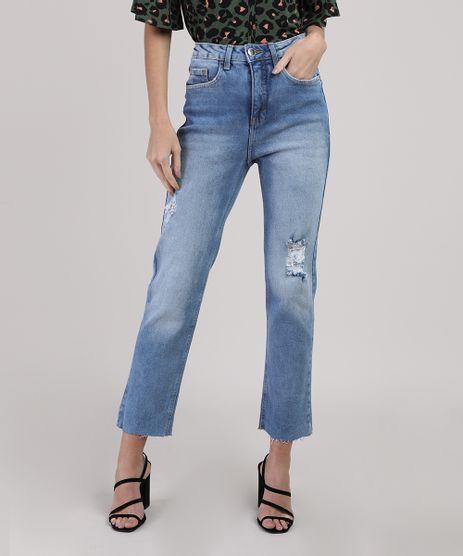 Calca-Jeans-Feminina-Reta-Destroyed-Cintura-Media-Azul-Medio-9945415-Azul_Medio_1