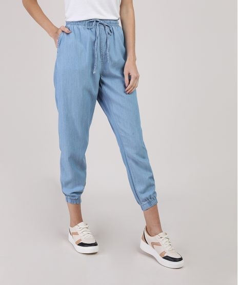 Calca-Jeans-Feminina-Jogger-com-Bolsos-Cintura-Media-Azul-Claro-9944900-Azul_Claro_1