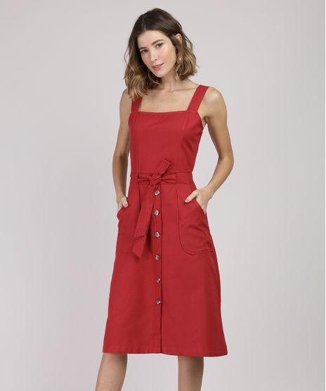 Vestido-Feminino-Midi-com-Bolsos-Alca-Larga-Vermelho-9938607-Vermelho_1