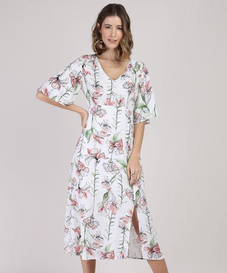 Vestido-Feminino-Midi-Estampado-Floral-com-Fenda-Manga-Curta-Branco-9942692-Branco_1