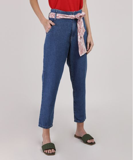 Calca-Jeans-Feminina-Mom-Cintura-Media-com-Lenco-Azul-Medio-9945406-Azul_Medio_1