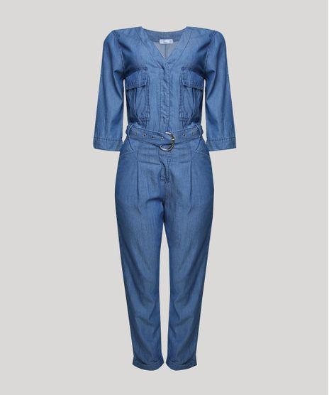 Macacao-Jeans-Feminino-com-Bolsos-e-Cinto-Manga-3-4-Azul-Medio-9946823-Azul_Medio_1