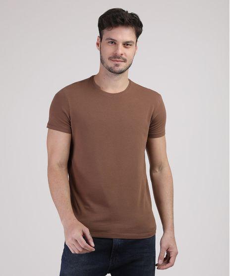 Camiseta-Masculina-Basica-com-Elastano-Manga-Curta-Gola-Careca-Caramelo-9209153-Caramelo_1