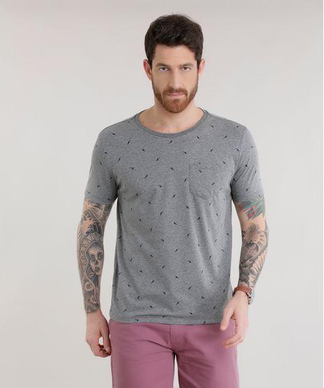 c4632f9b03 Camiseta-Estampada-de-Passaros-Cinza-Mescla-8660779-Cinza Mescla 1