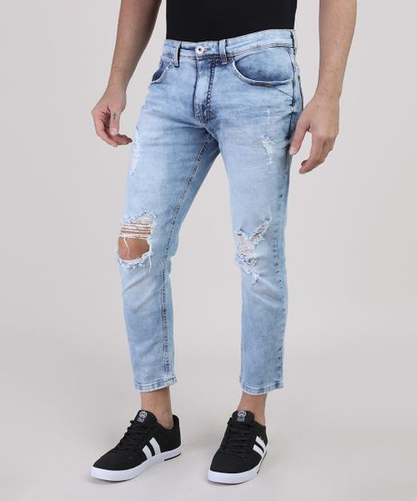 Calca-Jeans-Masculina-Slim-Cropped-Destroyed-Azul-Claro-9829361-Azul_Claro_1