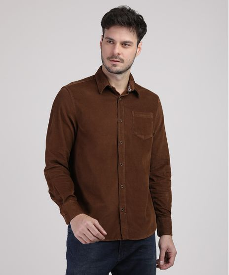 Camisa-de-Veludo-Cotele-Masculina-Tradicional-com-Bolso-Manga-Longa-Marrom-9809551-Marrom_1