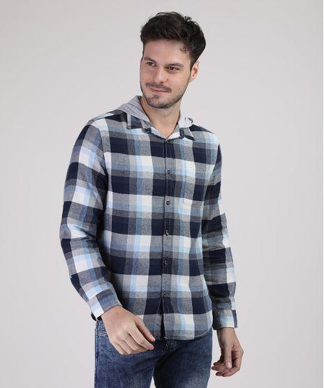Camisa-Masculina-Tradicional-Estampada-Xadrez-Manga-Longa-com-Capuz-Azul-9813193-Azul_1