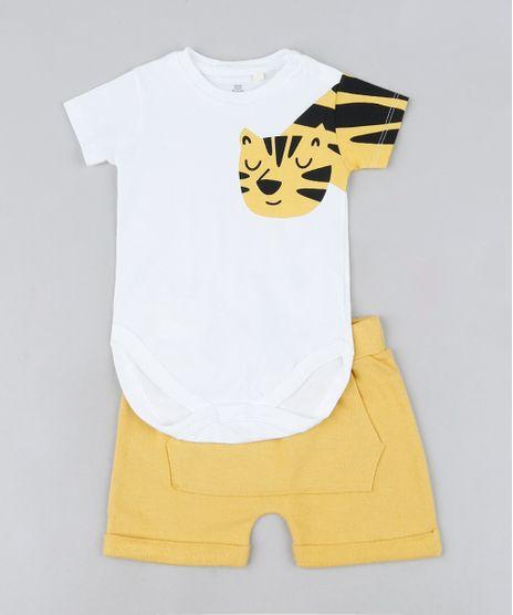 Conjunto-Infantil-de-Body-Tigre-Manga-Curta-Off-White---Short-Amarelo-9672637-Amarelo_1