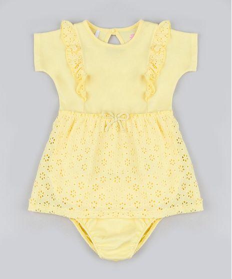 Vestido-Infantil-com-Laise-e-Babado-Manga-Curta---Calcinha-Amarelo-9916948-Amarelo_1