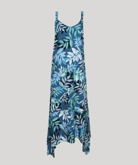Vestido-Feminino-Midi-Assimetrico-Estampado-de-Folhagem-Alca-Media-Azul-9942665-Azul_1