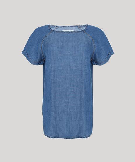Blusa-Jeans-Feminina-Manga-Curta-Decote-Redondo-Azul-Medio-9944890-Azul_Medio_1