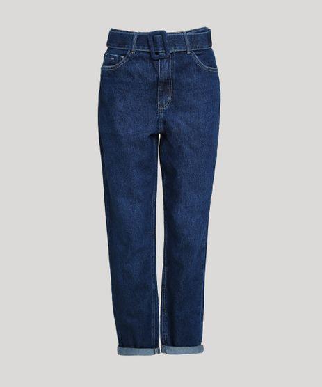Calca-Jeans-Feminina-Mom-Cintura-Super-Alta-com-Cinto-Azul-Escuro-9946120-Azul_Escuro_1