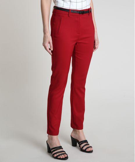 Calca-Feminina-Skinny-com-Cinto-Texturizado-Croco-Vermelha-Escuro-9823616-Vermelho_Escuro_1