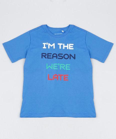 Camiseta-Infantil-Tal-Mae-Tal-Filho--We-re-Late--Manga-Curta-Azul-9946987-Azul_1