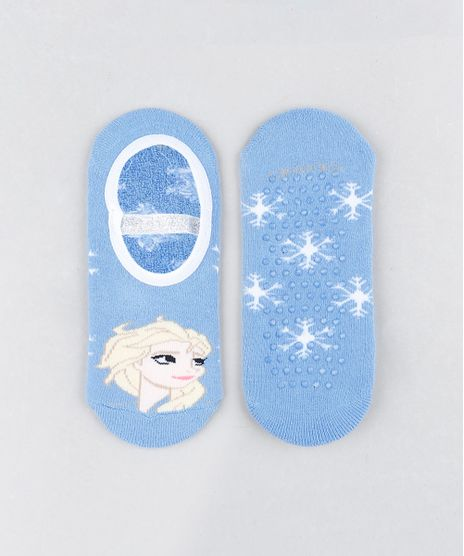 Meia-Infantil-Sapatilha-Elsa-Frozen-Estampada-com-Lurex-Azul-Claro-9805381-Azul_Claro_1