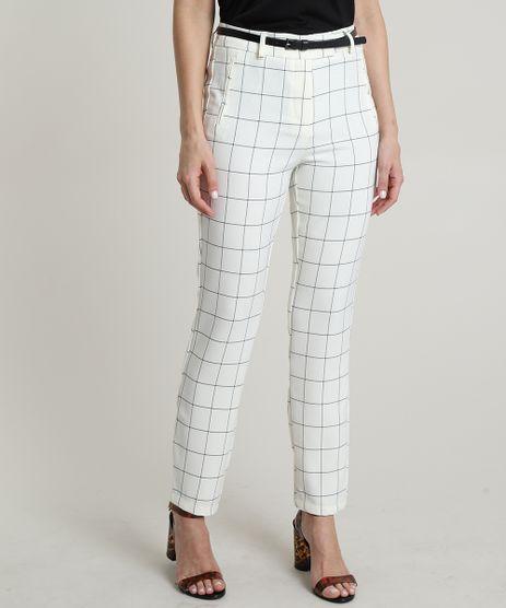 Calca-Feminina-Skinny-Cintura-Alta-Estampada-Quadriculada-com-Cinto-Off-White-9656706-Off_White_1
