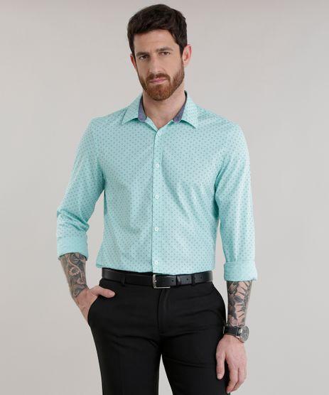 Camisa-Slim-Estampada-em-Algodao---Sustentavel-Verde-Claro-8582712-Verde_Claro_1