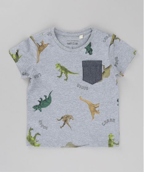 Camiseta-Estampada-de-Dinossauro-Cinza-Mescla-8615022-Cinza Mescla 1 ... 44f0a7d44a3