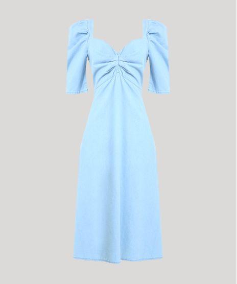 Vestido-Jeans-Feminino-Mindset-Midi-com-Franzido-Manga-Bufante-Decote-Coracao-Azul-Claro-9949385-Azul_Claro_1