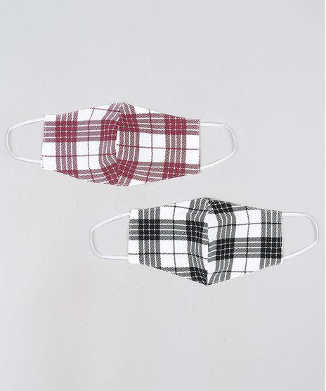 Kit-de-2-Mascaras-de-Tecido-Reutilizavel-para-Protecao-Individual-Estampadas-Xadrez-Branco-9950830-Branco_1