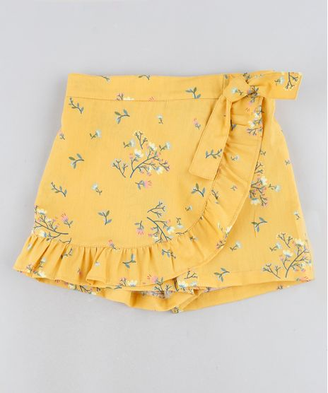 Short-Saia-Infantil-Floral-Com-No-e-Babado-Amarelo-9946488-Amarelo_1