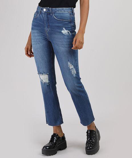 Calca-Jeans-Feminina-Reta-Cintura-Alta-Destroyed--Azul-Medio-9945416-Azul_Medio_1