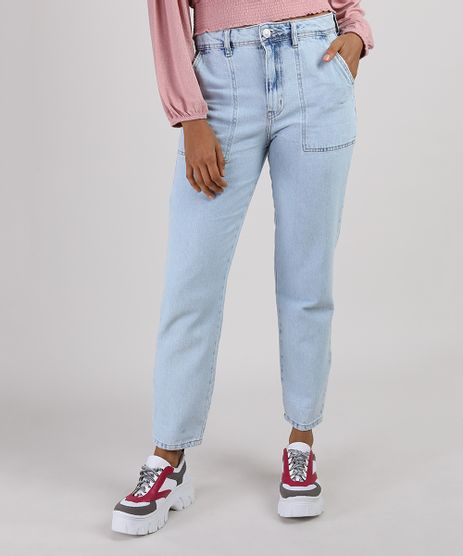 Calca-Jeans-Feminina-Mom-Cintura-Alta-Azul-Claro-9946093-Azul_Claro_1