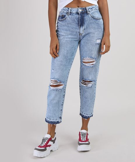Calca-Jeans-Feminina-Mom-Cintura-Super-Alta-Destroyed-Azul-Claro-9946094-Azul_Claro_1