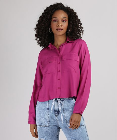 Camisa-Feminina-com-Bolsos-Manga-Longa-Rosa-Escuro-9945886-Rosa_Escuro_1