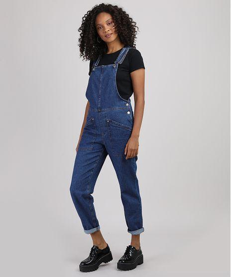 Macacao-Jeans-Feminino-Relaxed-com-Bolsos-Azul-Escuro-9946109-Azul_Escuro_1