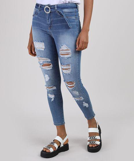 Calca-Jeans-Feminina-Sawary-Cigarrete-Heart-Cintura-Media-Destroyed-com-Cinto-Fivela-de-Strass-Azul-Medio-9941575-Azul_Medio_1