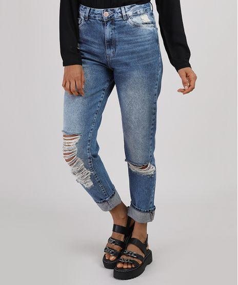 Calca-Jeans-Feminina-Mom-Cropped-Cintura-Alta-Destroyed-Azul-Medio-9946287-Azul_Medio_1