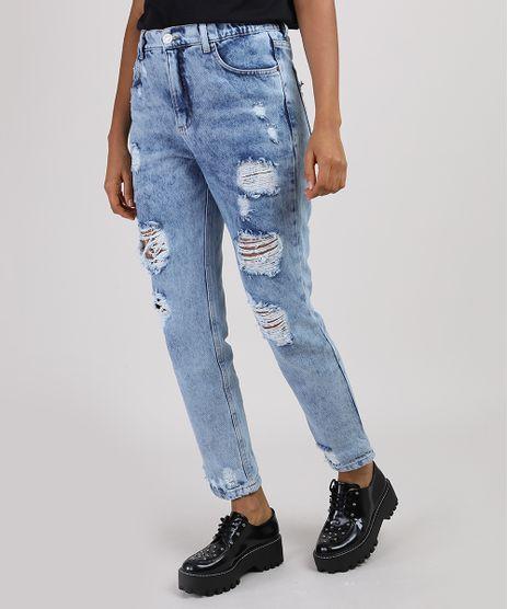 Calca-Jeans-Feminina-Mom-Cintura-Alta-Destroyed-Azul-Claro-9949974-Azul_Claro_1