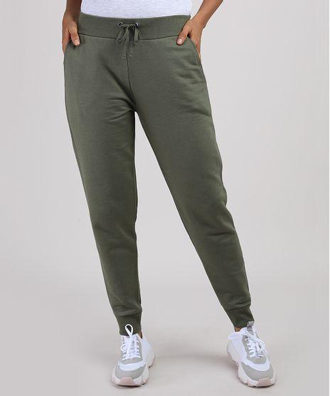 Calca-de-Moletom-Feminina-Basica-Jogger-Cintura-Media-com-Bolsos--Verde-Militar-9948942-Verde_Militar_1