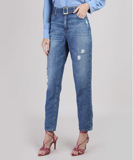 Calca-Jeans-Mom-Cintura-Super-Alta-com-Rasgos-e-Cinto-Azul-Medio-9946119-Azul_Medio_1