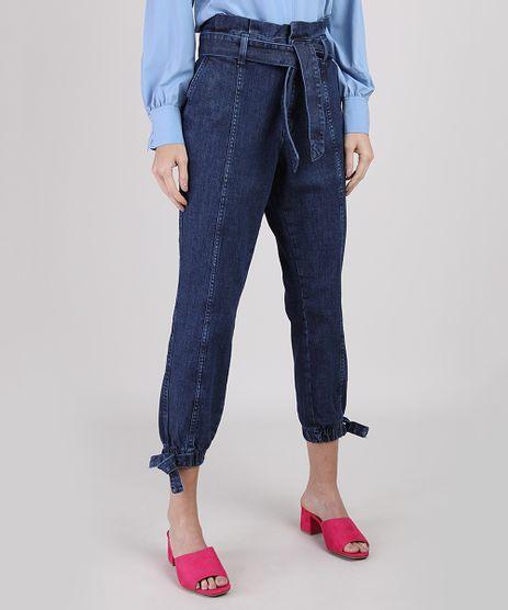 Calca-Jeans-Feminina-Clochard-Jogger-Cintura-Super-Alta-com-Faixa-para-Amarrar-Azul-Escuro-9947051-Azul_Escuro_1