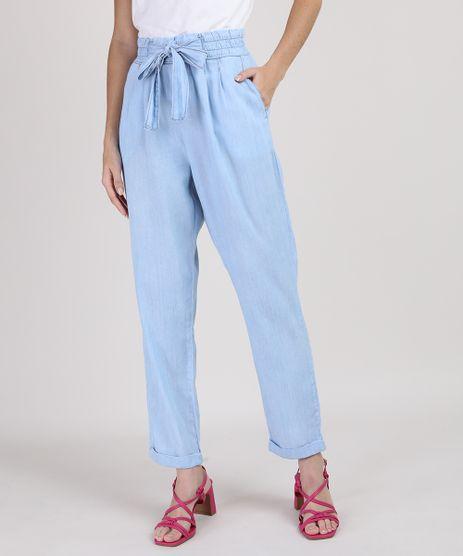 Calca-Jeans-Feminina-Manu-Gavassi-Clochard-Cintura-Alta-com-Amarracao-e-Bolsos-Azul-Claro-9818540-Azul_Claro_1