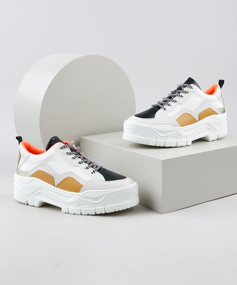 Tenis-Feminino-Oneself-Chunky-Sneaker-Plataforma-com-Recortes-Branco-9948130-Branco_1